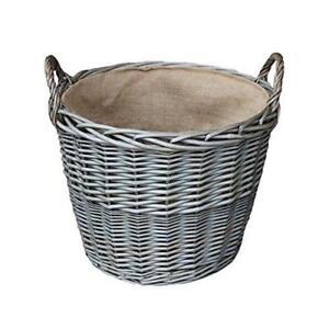 Large Antique Wash Finish Wicker Hessian Lined Log Basket
