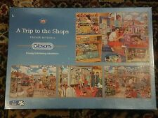 Gibsons A Trip To The Shops 4x 500 Piece Jigsaw Puzzle, COMPLETE Trevor Mitchell