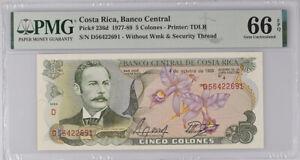 Costa Rica 5 COLONES 1989 P 236 d GEM UNC PMG 66 EPQ