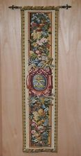 VINTAGE TAPESTRY WALL HANGING WITH EXTENDING RAIL, EMBROIDERED ARMORIAL CREST