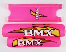 "Bmx old School Retro handle bar frame foam Crash Pad Set Pink for 16"" bike 3457"