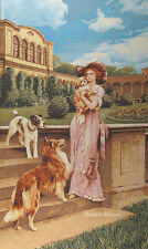 "43"" WALL JACQUARD WOVEN TAPESTRY Victorian Lady with Dogs EUROPEAN PALACE DECOR"