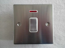 HAMILTON 1 GANG 20A DOUBLE POLE SATIN CHROME SWITCH - WHITE INSERT + NEON