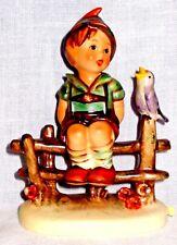 Hummel Goebel W. Germany Wayside Harmony Tmk5 Boy Sitting on Fence Singing Bird