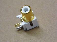 Lot x5 - fiche RCA Cinch dorée Femelle blanche coudée à piquer