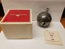 Reed & Burton 1983 Holly Bell Silverplate Christmas Ornament w/Box Tarnished Fs
