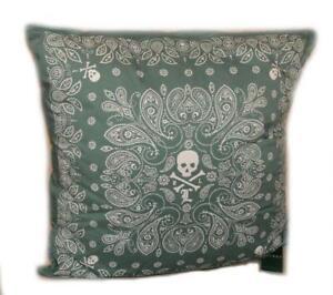 "RALPH LAUREN Skull & Crossbones University Tate DECORATIVE PILLOW Green 20"" X 20"