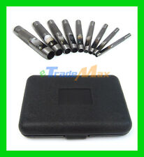 9 PC Leather Hollow Punch Tool Set w/ Storage Box