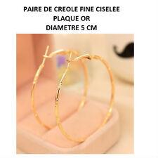CREOLE FINE CISELEE BOUCLE D OREILLE PLAQUE OR DIAMETRE 5 CM BOCR049