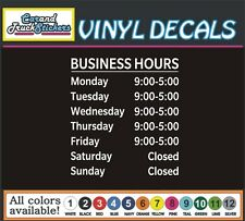 Custom Business store Hours window door vinyl sticker decal