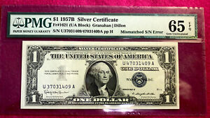 1957 $1 Silver Certificate Mismatched S/N Error Note Graded 65 Gem Uncirculated