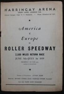 C1930'S HARRINGAY ARENA AMERICA vs EUROPE ROLLER SPEEDWAY ADVERTS ORIG WRAPS