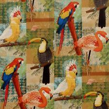 David Textiles TROPICAL BIRDS exotic birds, flamingo's, parrots, toucans Fabric