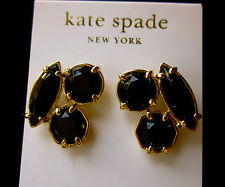 KATE SPADE NY RARE CLUSTER EARRINGS 14K gold filled posts LARGE STUDS RICH BLACK