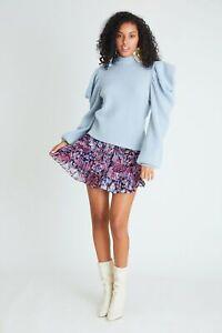 NWT LoveShackFancy Benicia Mini Skirt in Midnight Light XS $295
