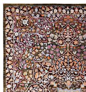 Old Indian Traditional Floral Mashaad Parsian Oriental Medallion Area Rug