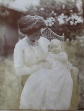 Photo ancienne 1910femme et son bébé mode rétro snapshot