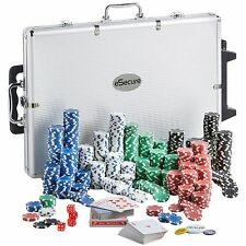 eSecure Professional Texas Hold EM 1000 Clay Casino Chips Poker Set Inc Case
