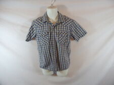 Men's LEVI Western Plaid Short Sleeve Pearl Snap Dress Shirt - Sz M