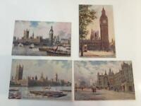 Tuck Oilette England Houses Parliament Lot 4 7898 Big Ben,St Thomas,Statue,River