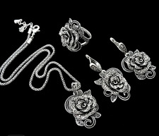 GORGEOUS MARQUISITE & SILVER GOTHIC ROSE EARRINGS NECKLACE RING SIZE 8 SET