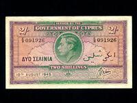 Cyprus:P-21,2 Shillings,1945 * King George VI * Nice VF *