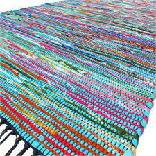 3 X 5 ft Blue Colorful Chindi Woven Tassel Area Rag Rug Braided Bohemian Accent