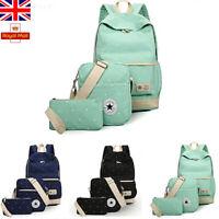Casual Canvas Girls Backpack Shoulder Bag Rucksack Travel School bags 3pcs Set