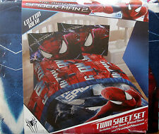 THE AMAZING SPIDER MAN 2  BLUE 3PC TWIN SHEETS BEDDING SET NEW