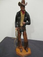 wood Cowboy with rope lariat lasso SIC France.