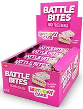 Morsi di battaglia ad alto contenuto proteico e a basso contenuto di carboidrati/BARRE DI ZUCCHERO 12 x 62 G-Torta di Compleanno