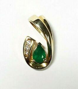 10k Yellow Gold Pear Emerald and Round Diamond Pendant