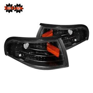 94-98 Ford Mustang Black Corner with Amber Reflector Light Blinker Parking