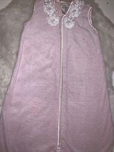 🌸 Baby Girls Fleece Halo Zipper Sleep Sack/Bag Pink Size S