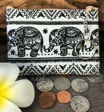 Bag Key Ring Coins Zipper Fabric Gift Cards Clutch Elephants Wallet Purse Black