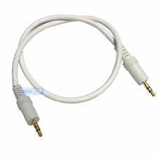 GOLD PLATED 1.2 metre WHITE 3.5mm AUX Stereo Jack Cable 1.2m BUDGET AUDIO LEAD