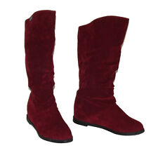 Nw Burgundy Red Wine KNEE HIGH FLAT Classic Pull on WOMEN TALL soft BOOTS Sz 5