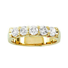 14K Ladies Yellow Gold Round Diamond 5 Stone Diamond Anniversary Band Ring 1/4Ct