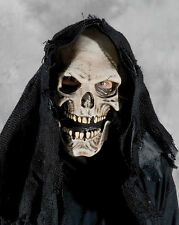 Grim Reaper Hooded Death Skeleton Skull Latex Halloween Mask with Moving Mouth