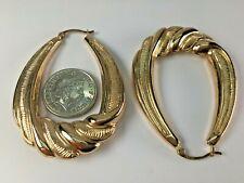 9 Ct Gold Extra Large 49.5  mm drop Creole Hoop Earrings  6.15 grams