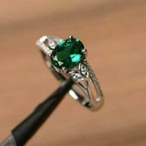 2Ct Oval Cut Green Emerald Solitaire Pretty Engagement Ring 14k White Gold Over