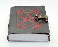 Red & Black Pentagram Handmade Book Of Shadows Handmade Leather Journal Wicca
