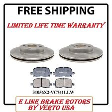 Verto USA Set of 2 Front Brake Rotors and Ceramic Pads 31056x2-VC741LLW