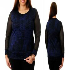 T37 New Womens Blue Size 14/16 Mesh Blue Black Pattern Shirt Blouse Tops Plus