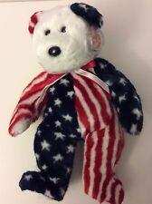 "TY Beanie Buddies 1999 Spangle the Bear the American Bear 14"" tall  NEW w Tag PT"