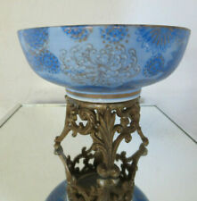 Old Antique Japanese Blue and Gold Trim Chrysanthemum on bronze
