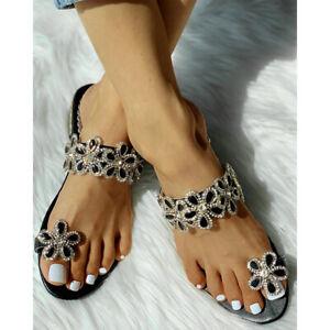 Womens Flip Flops Flower Ring Rhinestone Slippers Summer Beach Sandals Shoes