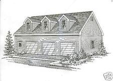 42x32 3 Car Garage Building Blueprint Plans with Walk up Open Loft Area