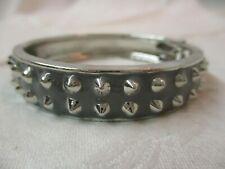 Silver tone & gray Spike Collar hinged Bracelet (H)