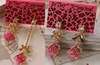 E394 BETSEY JOHNSON Fine Coffee Pink Tea Cup Party Tassel with Bow Earrings UK
